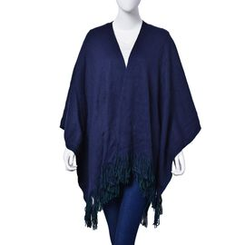 Navy and Green Colour Reversible Poncho (One Size fits all)