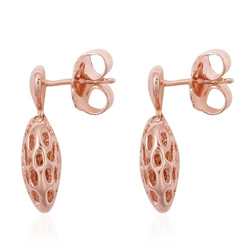 RACHEL GALLEY Rose Gold Overlay Sterling Silver Amore Heart Lattice Earrings (with Push Back), Silver wt 6.71 Gms.
