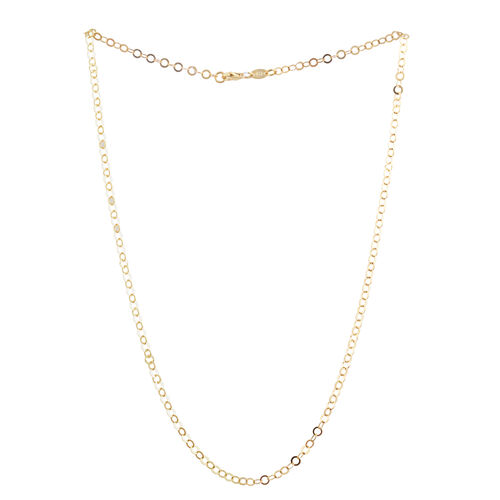 14K Gold Overlay Sterling Silver Open Circle Chain (Size 20), Silver wt 3.50 Gms.