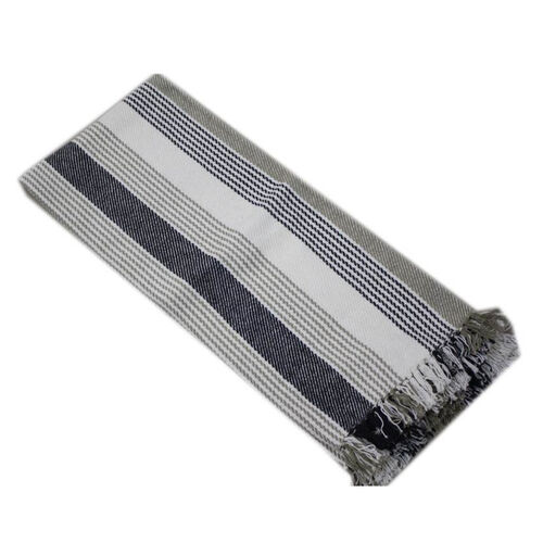 Grey, Black and White Colour Stripe Pattern Plaid (Size 150x120 Cm)