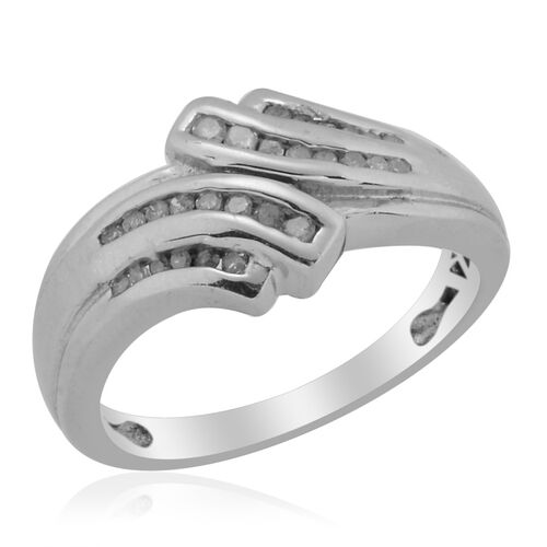 Diamond (Rnd) Ring in Platinum Overlay Sterling Silver 0.204 Ct.
