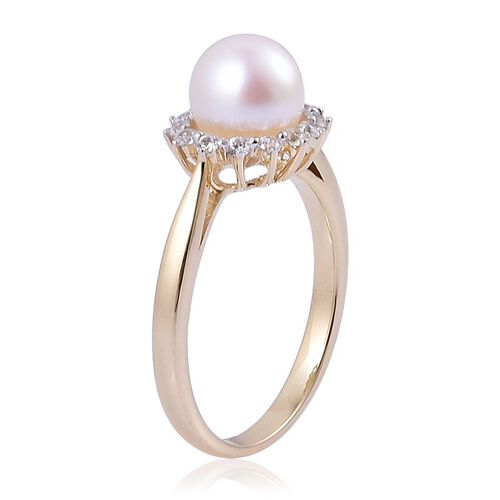 9K Y Gold Japanese Akoya Pearl (Rnd 3.00 Ct), White Zircon Ring 3.150 Ct.