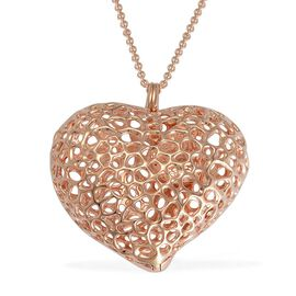RACHEL GALLEY Rose Gold Overlay Sterling Silver Amore Heart Pebble Lattice Necklace (Size 30), Silver wt 33.00 Gms.