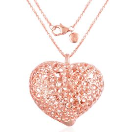 RACHEL GALLEY Rose Gold Overlay Sterling Silver Amore Heart Lattice Necklace (Size 30), Silver wt 33.49 Gms.