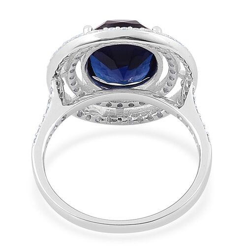 ELANZA AAA Simulated Tanzanite and Simulated White Diamond Ring in Rhodium Plated Sterling Silver