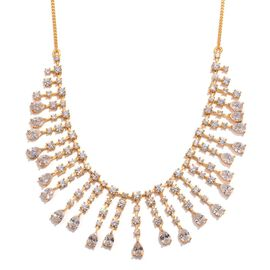 J Francis - 14K Gold Overlay Sterling Silver (Pear) Necklace (Size 18) Made with SWAROVSKI ZIRCONIA 28.540 Ct.