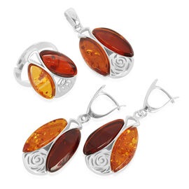 Multi Colour Baltic Amber (Mrq) Ring, Pendant and Earrings (with Clasp) in Sterling Silver
