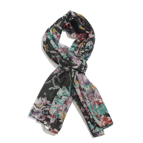 Winter Special 100% Mulberry Silk Floral and Butterfly Pattern Black, Brown and Multi Colour Pareo (Size 175x100 Cm)