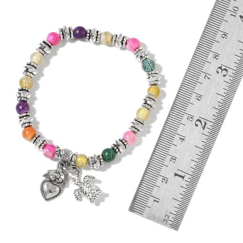 Set of 5 - Pink Agate, Blue Agate, Grey Agate, Orange Agate and Multi Colour Agate Stretchable Bracelet (Size 7) with Charms in Silver Tone 325.00 Ct.