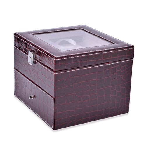 Burgundy Colour Croc Embossed 2 Layer Watch Box with Glass (Size 20x20x16.5 Cm)