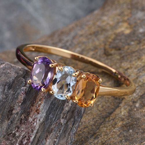 Amethyst (Ovl), Sky Blue Topaz and Citrine Ring in 14K Gold Overlay Sterling Silver 1.250 Ct.