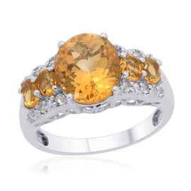 Citrine (Ovl 3.00 Ct) White Topaz Ring in Platinum Overlay Sterling Silver  4.000 Ct.