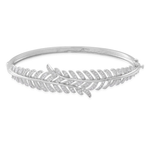 ELANZA AAA Simulated Diamond (Rnd) Feather Bangle (Size 7.5) in Rhodium Plated Sterling Silver
