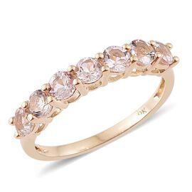 9K Y Gold Marropino Morganite (Rnd) 7 Stone Ring 1.000 Ct.
