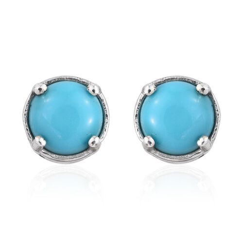 Arizona Sleeping Beauty Turquoise (Rnd) Stud Earrings (with Push Back) in Platinum Overlay Sterling Silver 1.250 Ct.