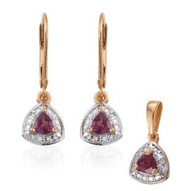 Rhodolite Garnet (Trl), Diamond Pendant and Lever Back Earrings in 14K Gold Overlay Sterling Silver 1.000 Ct.