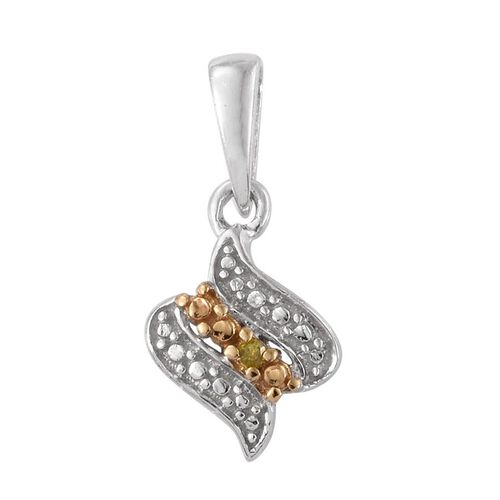 Yellow Diamond (Rnd) Pendant and Stud Earrings (with Push Back) in Platinum Overlay Sterling Silver