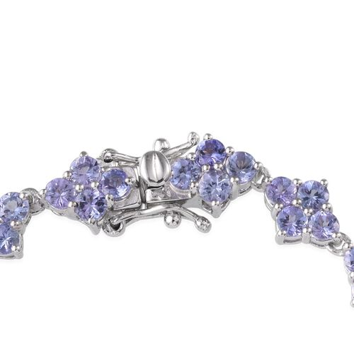 Tanzanite (Rnd) Bracelet in Platinum Overlay Sterling Silver (Size 7.5) 8.500 Ct.