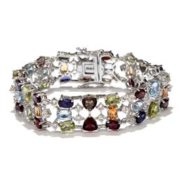 AA Rhodolite Garnet (Ovl), Mozambique Garnet, Hebei Peridot, Electric Swiss Blue Topaz, Green Amethyst and Multi Gem Stone Bracelet (Size 7.25) in Platinum Overlay Sterling Silver 30.500 Ct.