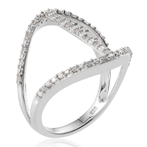 Diamond (Rnd) Vertical Bar Ring in Platinum Overlay Sterling Silver 0.341 Ct.