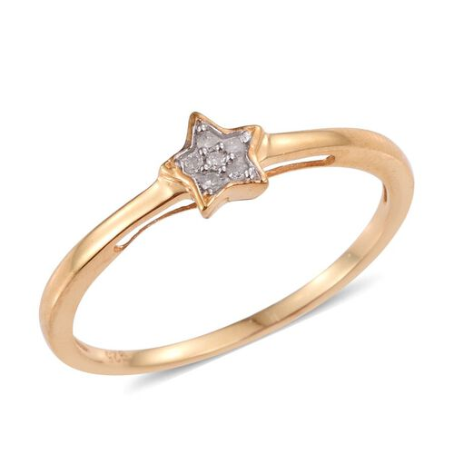 Diamond (Rnd) Star Stacker Ring in 14K Gold Overlay Sterling Silver