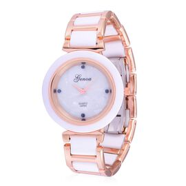 Blue Sapphire studded GENOA White Ceramic Japanese Movement Dial Water Resistant Watch in Rose Gold Tone with Stainless Steel Back
