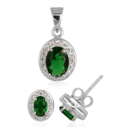 ELANZA AAA Simulated Emerald (Ovl), Simulated Diamond Stud Earrings (with Push Back) and Pendant in Rhodium Plated Sterling Silver