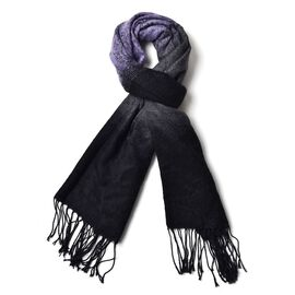 Light Grey, Dark Grey and Black Colour Paisley Pattern Scarf with Long Tassels (Size 180x65 Cm)