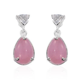 Pink Jade (Pear), White Topaz Earrings (with Push Back) in Sterling Silver 5.750 Ct.
