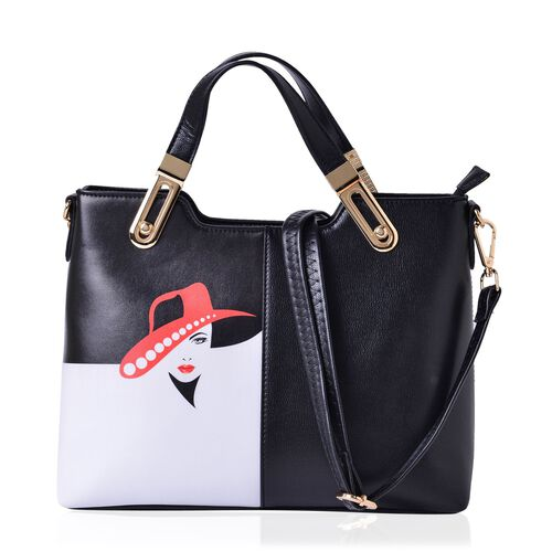 MILANO COLLECTION Navigli Glamour Red Hat Girl Tote Bag with External Zipper Pocket and Adjustable, Removable Shoulder Strap (Size 32x23x13 Cm)