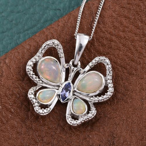 Ethiopian Welo Opal (Pear),Tanzanite Butterfly Pendant With Chain in Platinum Overlay Sterling Silver 1.250 Ct.