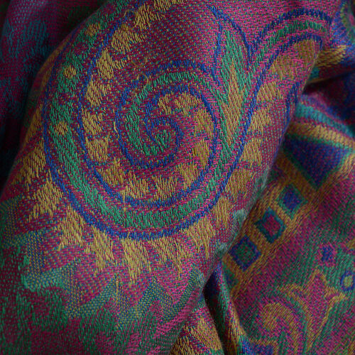 100% Modal Pink, Green and Multi Colour Jacquard Scarf (Size 190x70 Cm)