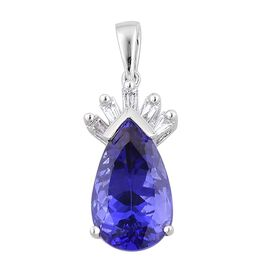 ILIANA 18K W Gold AAA Tanzanite (Pear 5.50 Ct), Diamond Pendant 5.600 Ct.