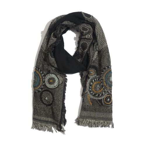 Designer Inspired 100% Merino Wool Multi Colour Paisley and Floral Embroidered Black Colour Scarf (Size 180x70 Cm)