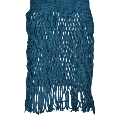 Net Design Knitted Blue Colour Scarf with Fringes (Size 160x30 Cm)