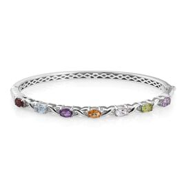 White Topaz (Ovl), Mozambique Garnet, Sky Blue Topaz, Amethyst, Hebei Peridot, Rose De France Amethyst and Citrine Bangle in ION Plated Platinum Bond (Size 7.5) 3.000 Ct.