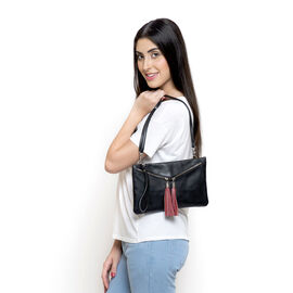 Genuine Leather Black Colour Sling Bag with External Zipper Pocket and Adjustable Shoulder Strap