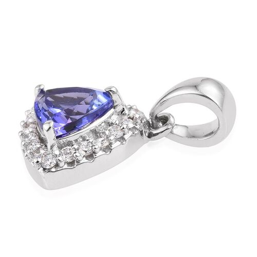 ILIANA 18K White Gold 1.25 Carat AAA Tanzanite Trillion, Diamond SI G-H Pendant.