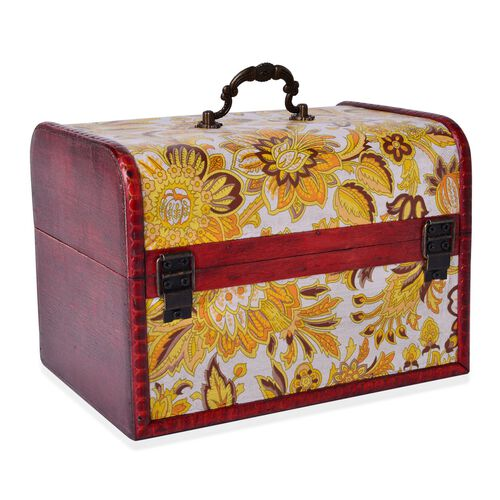 Set of 3 - Handcrafted Yellow Colour Floral Pattern Vintage Style Jewellery Box (Large 22X16X15.5 Cm), (Medium 16X11X10.5 Cm) and (Small 12X7.5X7.5 Cm)