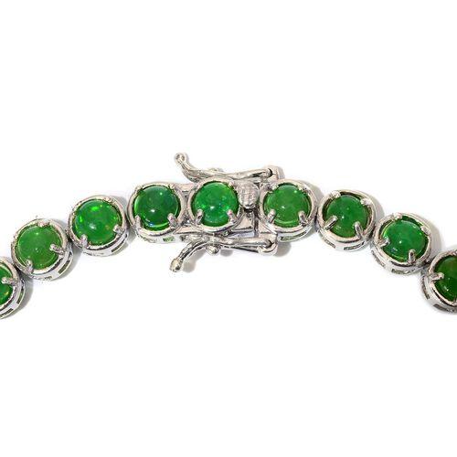 Green Ethiopian Opal (Rnd) Bracelet in Platinum Overlay Sterling Silver (Size 8) 10.000 Ct.