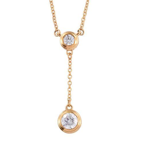 J Francis - 14K Gold Overlay Sterling Silver (Rnd) Necklace (Size 18) Made with SWAROVSKI ZIRCONIA