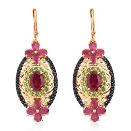 GP African Ruby (Ovl), Russian Diopside, Boi Ploi Black Spinel and Kanchanaburi Blue Sapphire Lever Back Earrings in 14K Gold Overlay Sterling Silver  8.750 Ct.