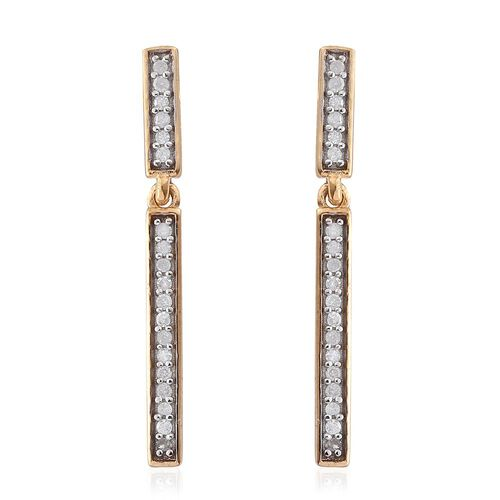 0.22 Ct Diamond Silver Single Strand Earrings (with Push Back) in Gold Overlay