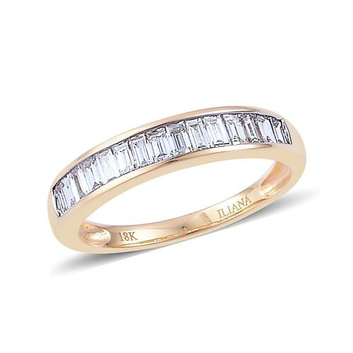 ILIANA 18K Y Gold IGI Certified Diamond (Bgt) (VS-SI/ G-H) Half Eternity Band Ring 0.500 Ct.