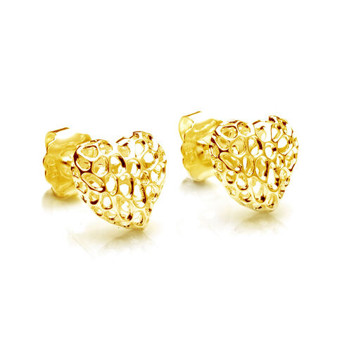 RACHEL GALLEY Amore Heart 14K Gold Overlay Sterling Silver Stud Earring