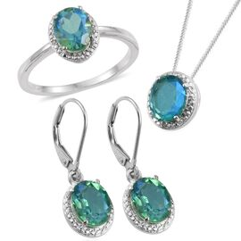 Peacock Quartz (Ovl), Diamond Ring, Pendant with Chain and Lever Back Earrings in Platinum Overlay Sterling Silver 8.020 Ct.
