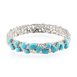 Arizona Sleeping Beauty Turquoise Bangle (Size 7.5) in Platinum Overlay Sterling Silver 8.400 Ct.