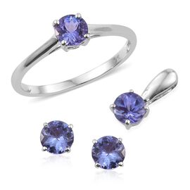 9K White Gold 2 Carat Tanzanite Round Solitaire Ring, Pendant and Stud Earrings Set.