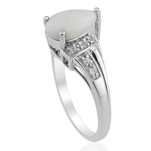 Australian White Opal (Pear) White Topaz Ring in Platinum Overlay Sterling Silver  0.750 Ct.