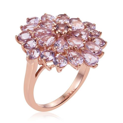 Rose De France Amethyst (Pear) Floral Ring in Rose Gold Overlay Sterling Silver 7.750 Ct.